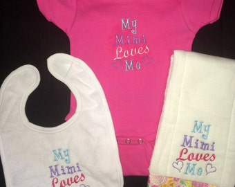 My (grandparent's name)Mimi Loves Me custom embroidered bodysuit, burp cloth and bib