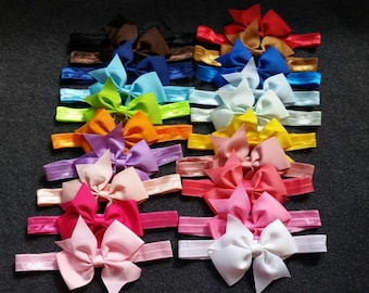 Baby Girl Headband, Baby Bow Headband Set,  Baby Bows, Baby Headbands, 4 Inch Bows, Newborn Girl, Toddler, Infant, Bow Headbands, Baby Girl