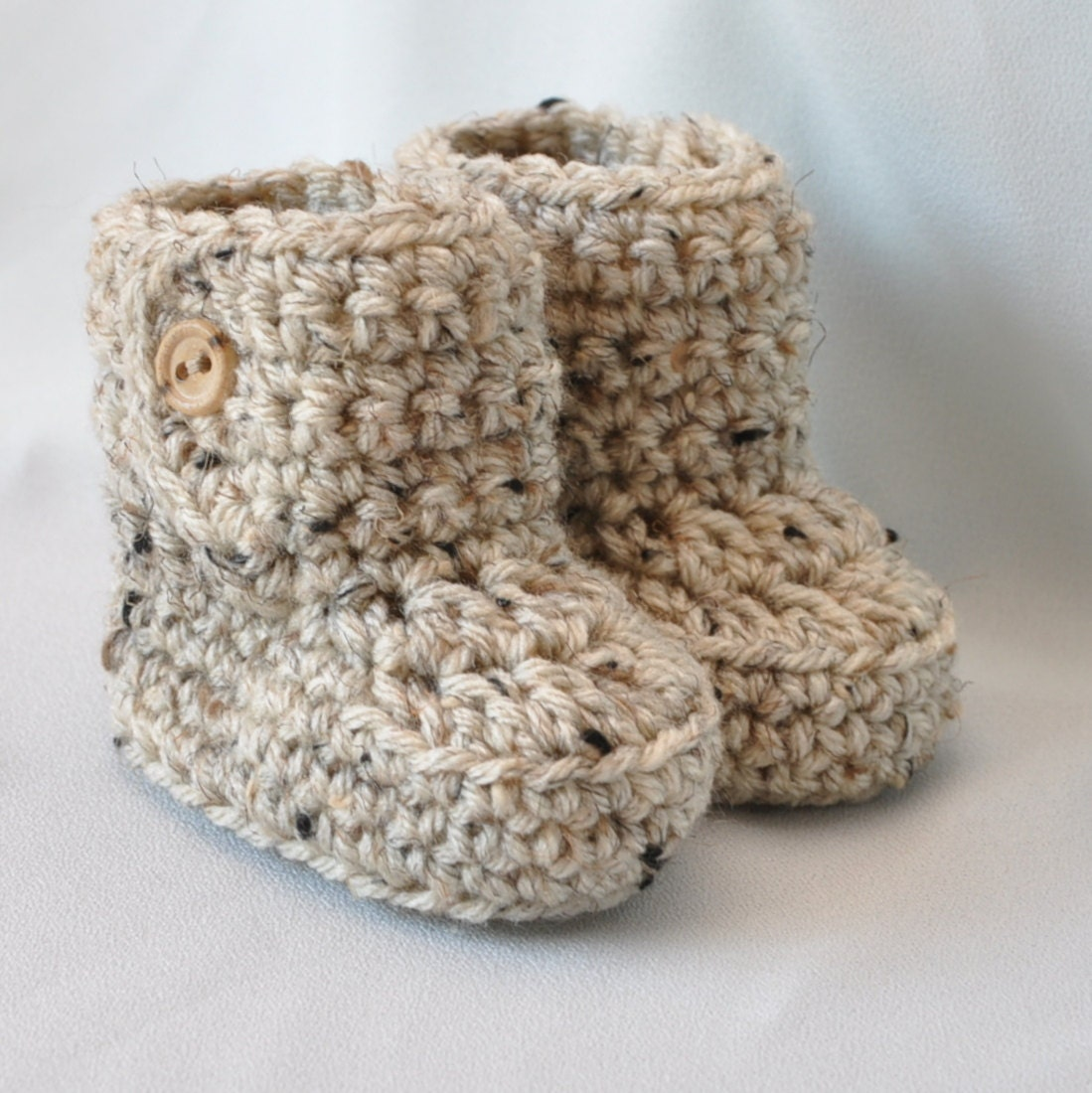 Baby Booties Crochet Baby Boots with button top size 0 to 6