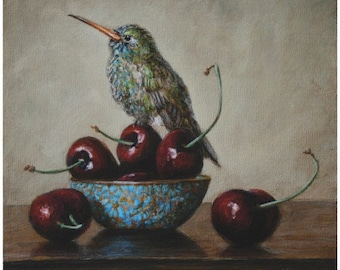 Hummingbird and Bing Cherries