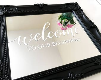 Decal Sticker for DIY Welcome To Our Beginning Wedding Sign - Wedding Mirror DIY. Also suitable for Wood, Perspex, Cardstock.