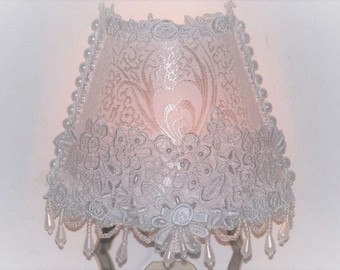 Victorian Chic NIGHT LIGHT with Rose Trim and Pearl Iridesent Applique and Beading Choose With or Without CAMEO