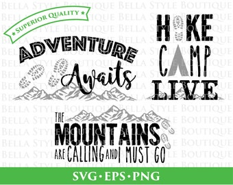 Hiking Outdoor Mountains Adventure Camping Trio svg png eps cut file