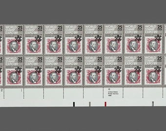 Vintage 1989 Sheet of 20 Stamps World Stamp Expo '89 Abraham Lincoln Stamp Postage Stamps