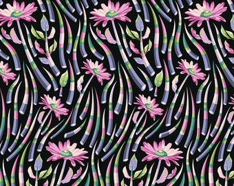 Tula Pink OOP Acacia Fabric - Quills in Blueberry - PWTP038.BLUEBERRY