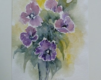 watercolour painting abstract poppies flowers