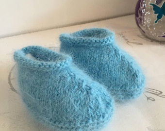 Angora Booties, Light Blue Baby Shoes 0 3 Months, Knitted Baby Booties, Baby Shower, Colleague Maternity Gift, Mom to Be Baby Boy Booties