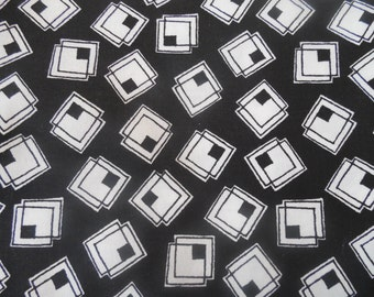 """SALE 1  Yard 23"""" Black and White Double Squares Fabric By the Yard"""