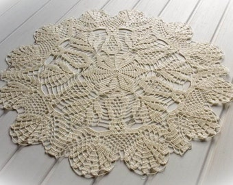 SALE 10% OFF: Large crochet doily Ivory lace doilies Cream crochet doily Large lace doily Crochet decoration Living room decor 288
