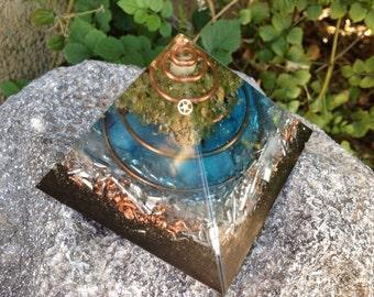 Large Orgone Pyramid, Anti Stress Generator (ASG) with Rhodizite, Shungite, Peridot  4.5 x 4.5 x 4 in tall