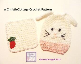 Bunny Rabbit Washcloth and Bath Mitt Set Crochet Pattern PDF 010