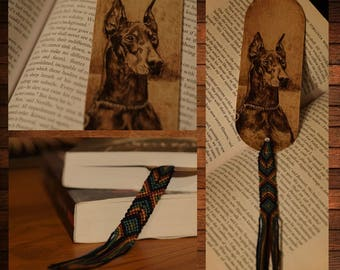 handmade wooden bookmark pyrography doberman