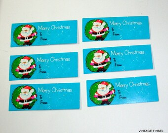 6 Retro Christmas Gift Tags, To and From,  Santa Claus, Bright Blue, Self Adheisive, Set Three  (235-14)
