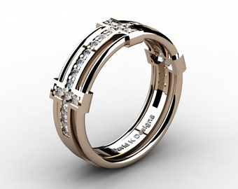 Mens Modern 14K Rose Gold Diamond Wedding Band B1065-14KRGD