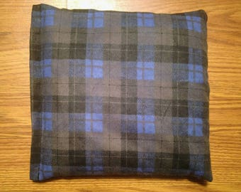Rice Bag or Corn Bag -Heating Pad - Ice Pack -Microwavable- Freezable- Black/ Blue Plaid- Pick Your Own Fill-  Approx 8x10