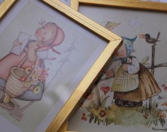 Set of Two Hummel Prints in Gold Guilded Frames