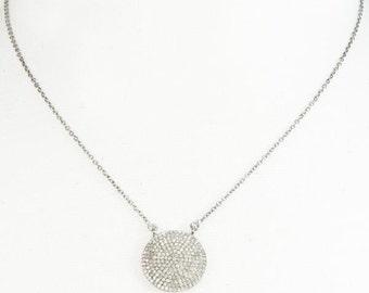 Diamond Circle Disk Necklace