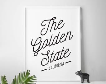 CALIFORNIA home decor California wall decor California wall art The Golden State CA California Gold California Love Home Sweet California