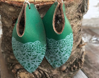 Weathered Leather Earrings-Remnants Collection-Large Open Hole Ovals-Boho Earrings-Green Lace