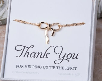 Set of 5,Gold bow bracelet,Gold knot bracelet, Thank you for helping us tie a knot,bridesmaid gifts,friendship bracelet