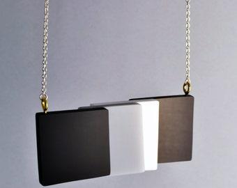 Monochrome Geometric Perspex Necklace