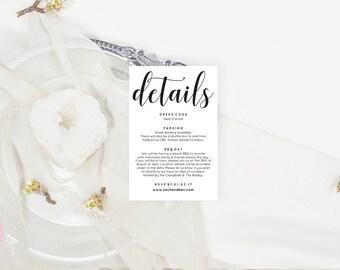 Wedding details card, Printable wedding stationery, Rustic wedding stationery, Wedding invitation details card, Editable pdf, ZRR1011