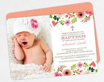 Photo Baptism Invitation, Christening Invitation, Girl Baptism Invitation, Printable Baptism, Watercolor, Floral, Pink, Peach, jpg, Michaela
