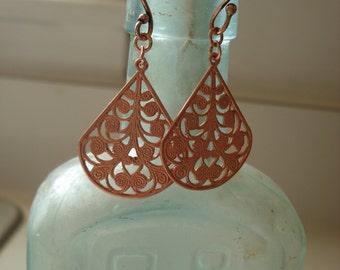 SALE Vintage Copper Filigree Dangle Earrings
