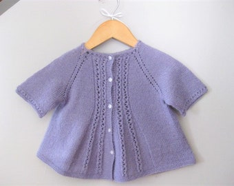 Hand Knitted Baby Girl Wool Blend Swing Cardigan Sweater