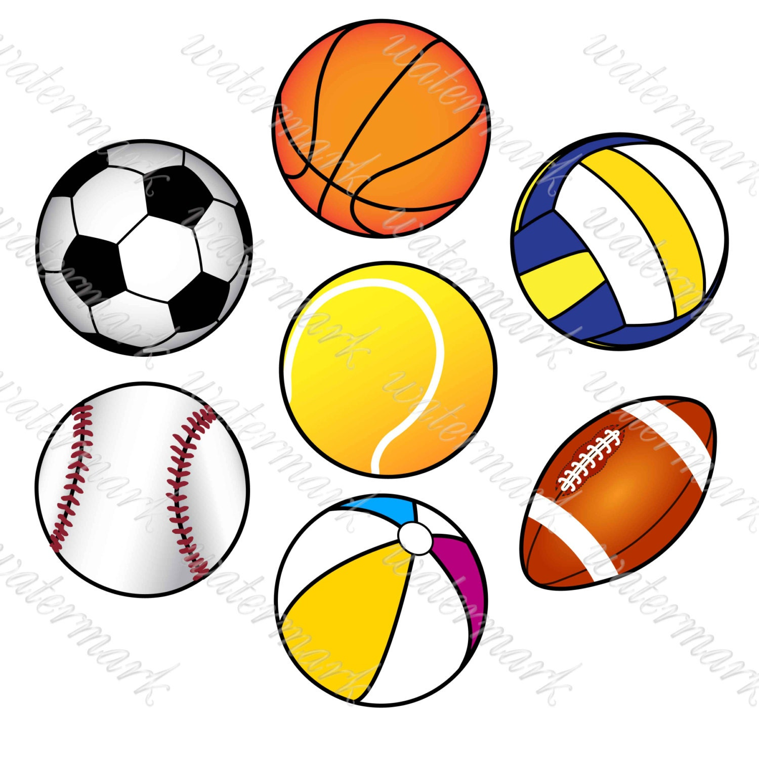 balls digital soccer digital sport clip art sports clipart rh etsy com clipart sports balls