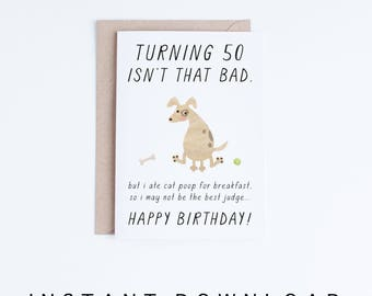 Pet dad 53rd birthday printable cards instant download 53 pet dad 50th birthday printable cards instant download 50 birthday dog card bookmarktalkfo Gallery