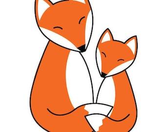 Mother Fox and Baby Fox Hugs Art Print