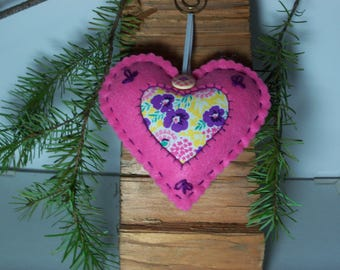 Heart Sachet Pink Felt with Lavender Scent
