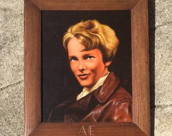 Amelia Earhart Portrait Oil on Board