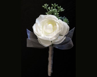 White Rose with Succulente Boutonniere Made to Order Weddings Proms