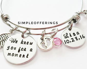 We Knew You For A Moment - Stillborn. In Memory of Baby, Loss of Baby, Infant Loss, Memorial Bracelet, Remembrance Jewelry, Sympathy Gift