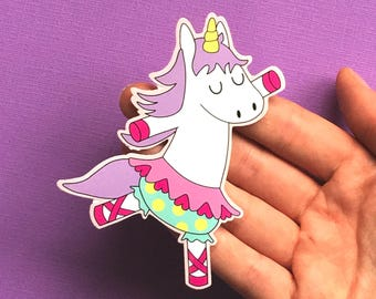 Dancing Unicorn sticker - large laptop sticker - kawaii vinyl sticker - unicorn gifts - gifts for girls