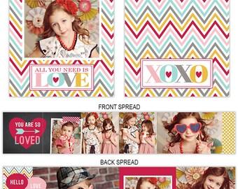 Valentine's Day Accordion Mini Book Template for Photographers - Valentines Book Templates - Photoshop Templates for Photographers  AM124