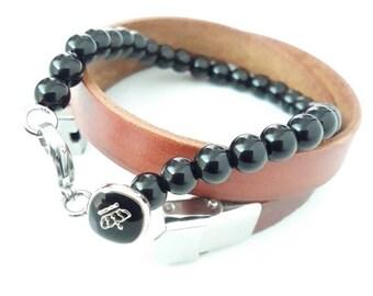 Onyx set bracelet for men