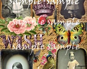 sofortiger DIGITAL Download COLLAGE Blatt Vintage Ephemera antike Daguerreotypie AmbrotypeTintype schöne kleine Mädchen viktorianischen Schrott