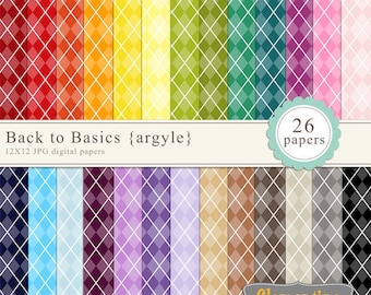 Argyle digital paper 12x12, digital scrapbooking paper, royalty free commercial use- Instant Download