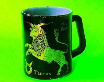 Fire King Anchor Hocking Astrology Horoscope Taurus The Bull Kitschy Kitchen Retro Vintage 1970s Black and Gold Coffee Mug