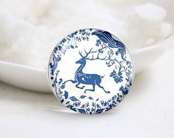 Handmade Round Photo glass Cabochons-Deer (P2916)