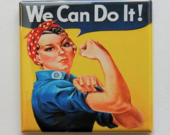 Rosie The Riveter - Button Pinback Badge 2 inch