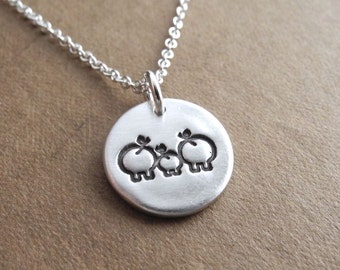 Tiny Pig Family Necklace, Sow, Piglet, Boar Jewelry, New Family Necklace, Fine Silver, Sterling Silver Chain, Made To Order