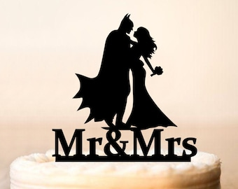 Wedding cake topper,Batman Cake Topper,Batman And Catwoman Cake Topper,Weddings Batman Silhouette Cake Topper,Personalized Cake Topper 0094