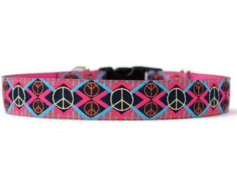 1 Inch Wide Dog Collar with Adjustable Buckle or Martingale in Give Peace a Chance