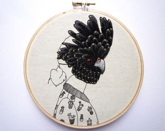 Hoop Art 'Red-Tailed Black Cockatoo Girl' 5 inch Modern Embroidery