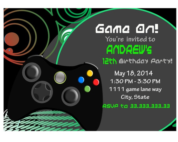 Video Game Invite Game party Invitation gamer Video game