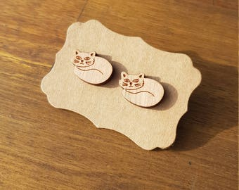Cat earrings, laser cut wood earrings